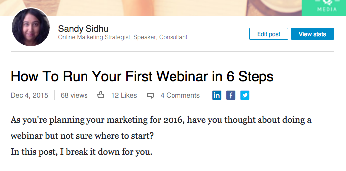 promote your webinar on linkedin